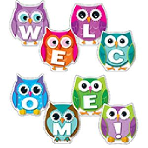 Colorful Owls Welcome Sign