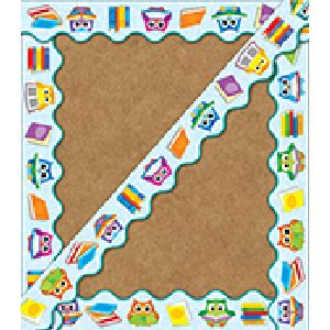 Reading with Colorful Owls Border