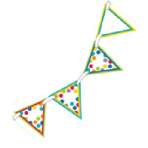 Color Me Bright two-sided Pennants